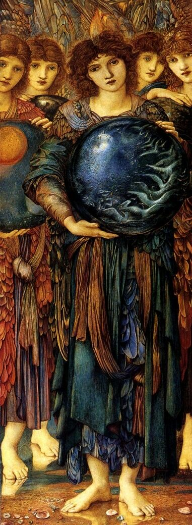 THE FIFTH DAY OF CREATION ANGEL WITH CRYSTAL BALL PAINTING BY BURNE JONES REPRO