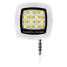 16 LED 3.5mm Selfie Mini Camera Flash Fill Light for Smart Mobile Phone White UK