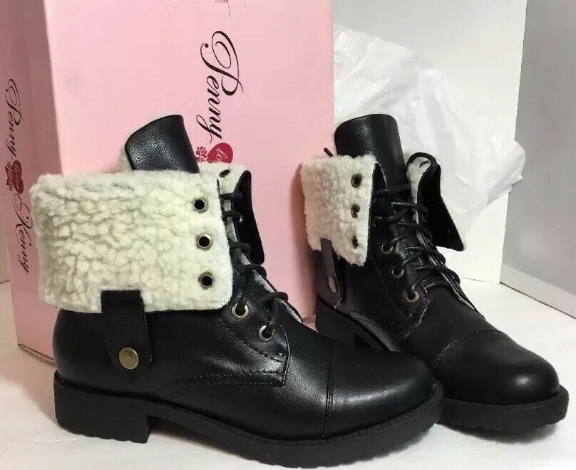 NEW PENNY KENNY Womens Boots Size 5 Black Leather Ivory Sherpa Fur Hike Shoes