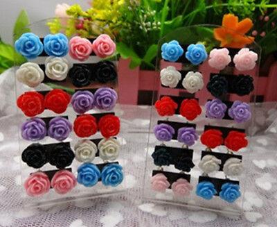 12 Pairs Mystic Rose Stud Earring Mixed Color Flower Wholesale Lot Nickel MGUS