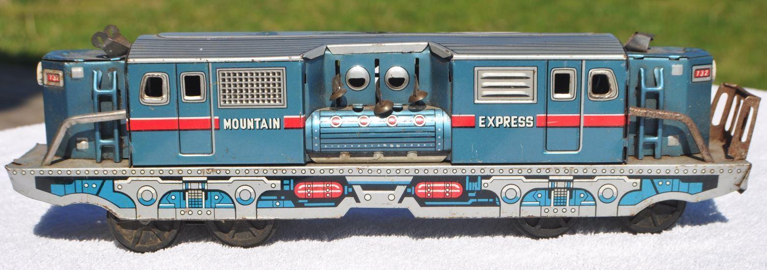 1950-60s Japón Japonés Mountain Express TIN TRAIN Juguete 28 cm de largo detalles finos
