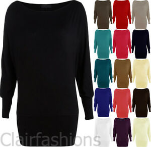 New-Womens-Batwing-Basic-Long-Sleeve-Ladies-Plain-Stretch-T-Shirt-Tunic-Top-8-14