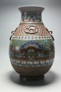 Antique-Chinese-Style-Japanese-Bronze-Cloisonne-Champleve-Enamel-Archaistic-19th