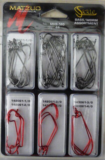 44 Hook Matzuo MHS-145 Sickle Saltwater Assortment Fish Fishing Hooks 44 hooks