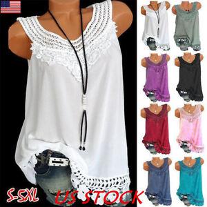 Plus-Women-Summer-Lace-Vest-Top-Sleeveless-Blouse-Casual-Tank-Tops-T-Shirt-USA