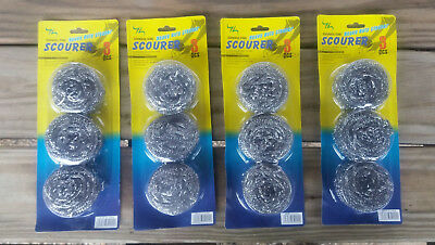 Pack of 8-40 Gram Weight Premium Stainless Steel Scourer Sponge Scrubbers