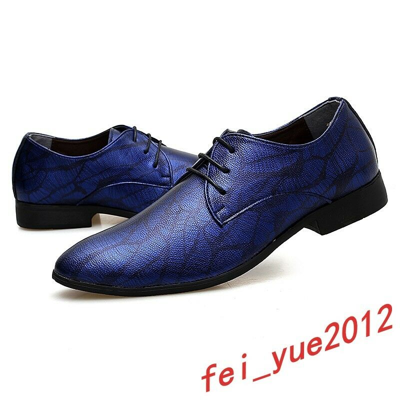Mens Fashion Party Crocodile Pattern Pointed Toe Lace up Formal Dress shoes Club