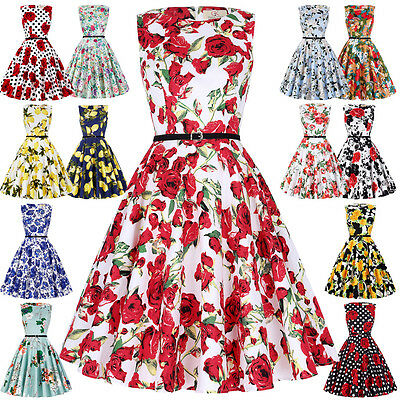 Plus Size XS-2XL New Vintage Pinup 50s 60s Swing Floral Evening Party PROM DRESS