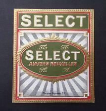 Ancienne étiquette BOITE DE CIGARE SELECT Anvers Bruxelles old box cigar label