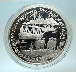 1990-RUSSIA-Captain-Cook-Russian-America-Genuine-Silver-Proof-3-Coin-i76604