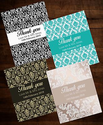 Damasco Personalizzata Ringraziamento Compleanno Matrimonio Carte Note Colorate Buste-mostra Il Titolo Originale Sii Amichevole In Uso