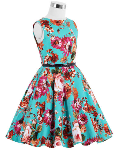 Katekasin Children Girls Round Neck Cotton Floral Polka Dot Birthday Dress S