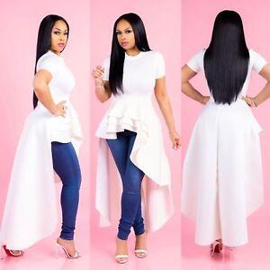 Womens-Ruffle-High-Low-Asymmetrical-Short-Sleeve-Bodycon-Tops-Blouse-Shirt-Dress