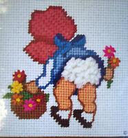 Fancy Pants Sunbonnet Baby Bending Over To Pick Flowers Needlepoint Kit