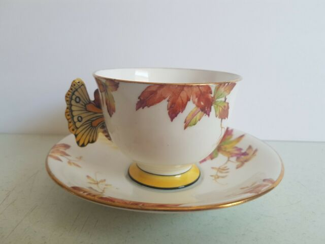 Aynsley Butterfly Handle Cup and Saucer Set Vintage *AS IS, tiny chip*