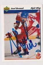 91/92 Upper Deck Josef Beranek Team Czechoslovakia Autographed Hockey Card
