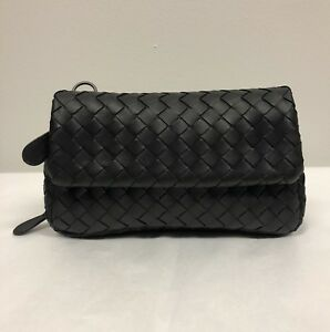 Image is loading New-BOTTEGA-VENETA-Black-Mini-Intrecciato-Messenger-Bag- 5001eb36bf210