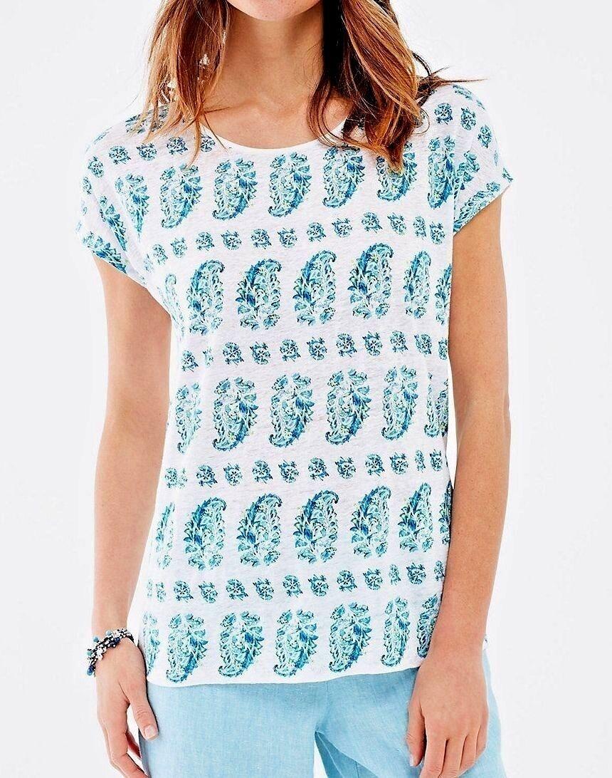 J. Jill - M(10 12) - Gorgeous Summer Linen Weiß Multi Paisley Top - NWT