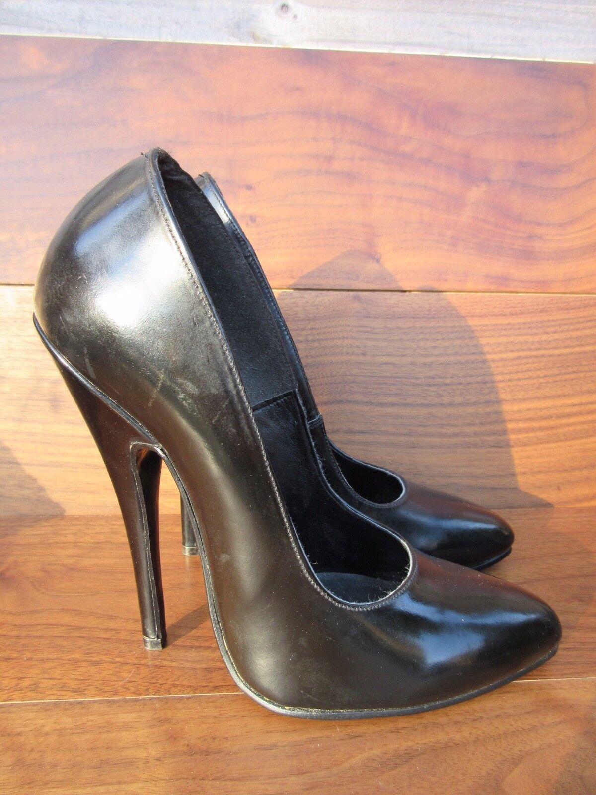 Skin Two London en cuir noir classique talons aiguilles 13.5 cm Talon Taille 5 1 2