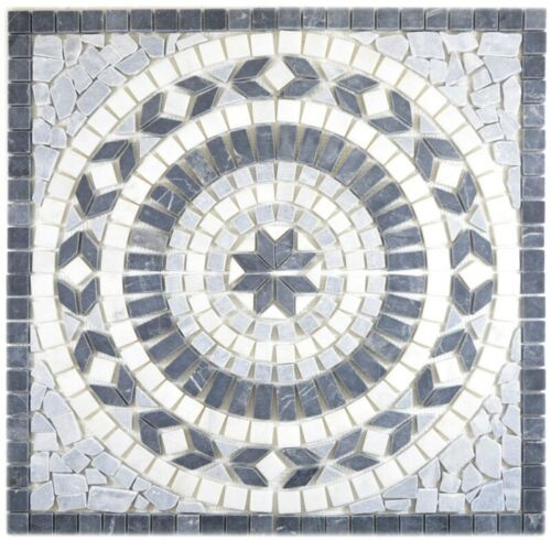 bardiglio Mosaikfliese Wand Fliesenspiegel ... Dekor 61x61x1 Earth nero bianco