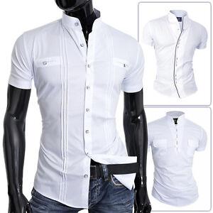 D&r Hombre Manga Corta Camisa Blanca Cuello Mao Ajustado
