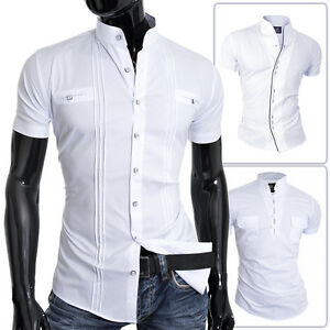 bff84788965 D R Mens Short Sleeve Shirt White Grandad Collar Slim Fit Summer ...