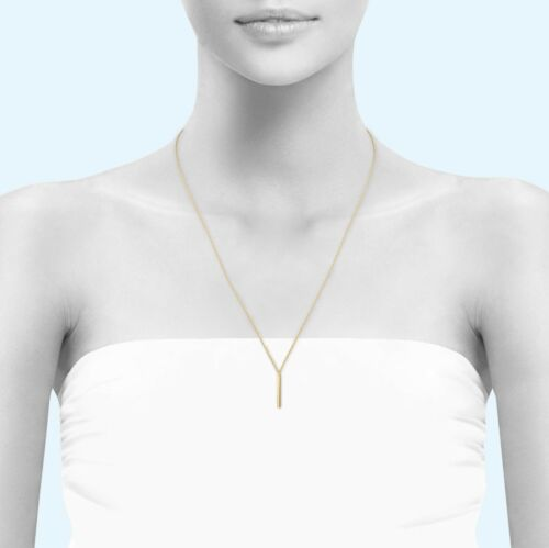 10K Solid Yellow Gold Custom Vertical Bar Pendant Rolo Chain Necklace Set Charm