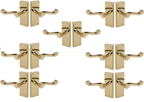 5 Pack of Victorian Scroll Internal door handles in Polished Brass 120x42mm