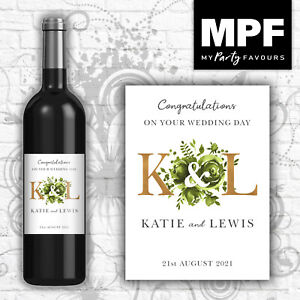 Personalised Wedding Wine Bottle Label - 5 colour options - (gld)