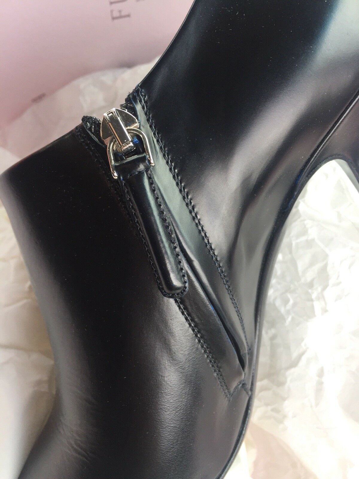 Brand New Furla Black Ankle Leather Heel Boots Italy Size 38 Fit 37 Made In Italy Boots 749 9b7776