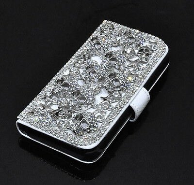 For Mobile Phone Bling Luxury Silver Skull Studded Wallet Leather Slot Card Case