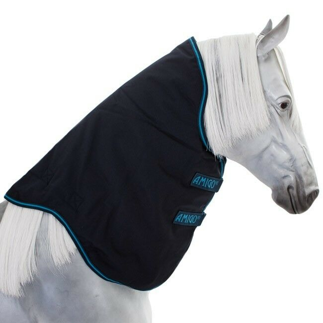 Horseware Amigo BRAVO  12 Turnout Hood 0g NavyNavy & Electric blu Collo parte