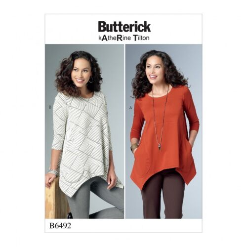 Butterick Ladies Easy Sewing Pattern 6492 Loose Knit Tunic Tops with Pockets ...