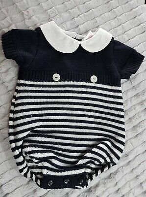 Spanish Style Baby Boy Navy /& Red Knitted Romper