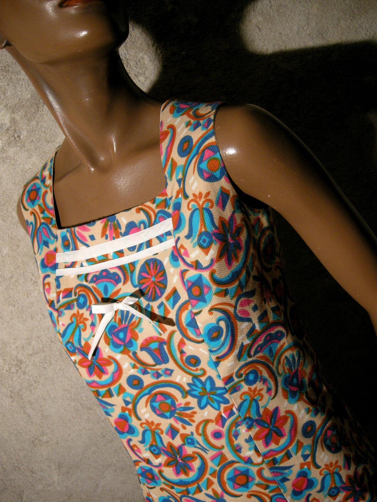 Schick Vintage Vintage Vintage Kleid 1960 Vtg 60s 60er Kleidung Retro Jahre (36 38) 029fbf