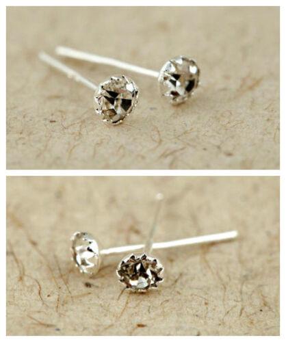 Classique 925 argent sterling ton diamant style clous boucles d/'oreilles cristal