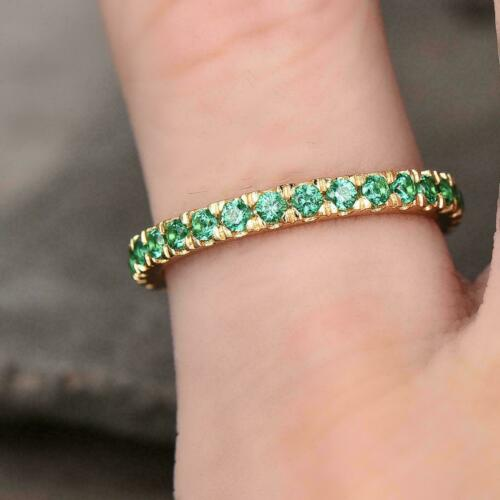 Details about  /0.95Ct Round Cut Emerald Full Eternity Wedding Ring Band 14K Yellow Gold Finish