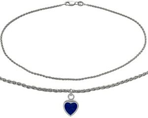 14K-WG-10-Inch-Wheat-Anklet-with-Created-Sapphire-Heart-Charm