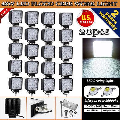 20PCS 48W Cree LED WORK LIGHT FOG FLOOD BEAM LAMP OFFROAD TRUCK 12V SUV UTE ATV