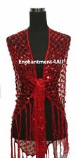 Exotic Crochet Net Sequins Belly Dance Hip Scarf, Red