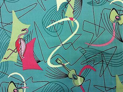 Atomic Retro Barkcloth Flamingo Boomerang Sputnik MCM Mod Cotton Fabric NT38