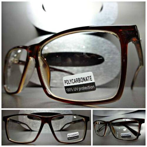 Men/'s or Women CLASSIC VINTAGE RETRO Clear Lens EYE GLASSES Brown Fashion Frame