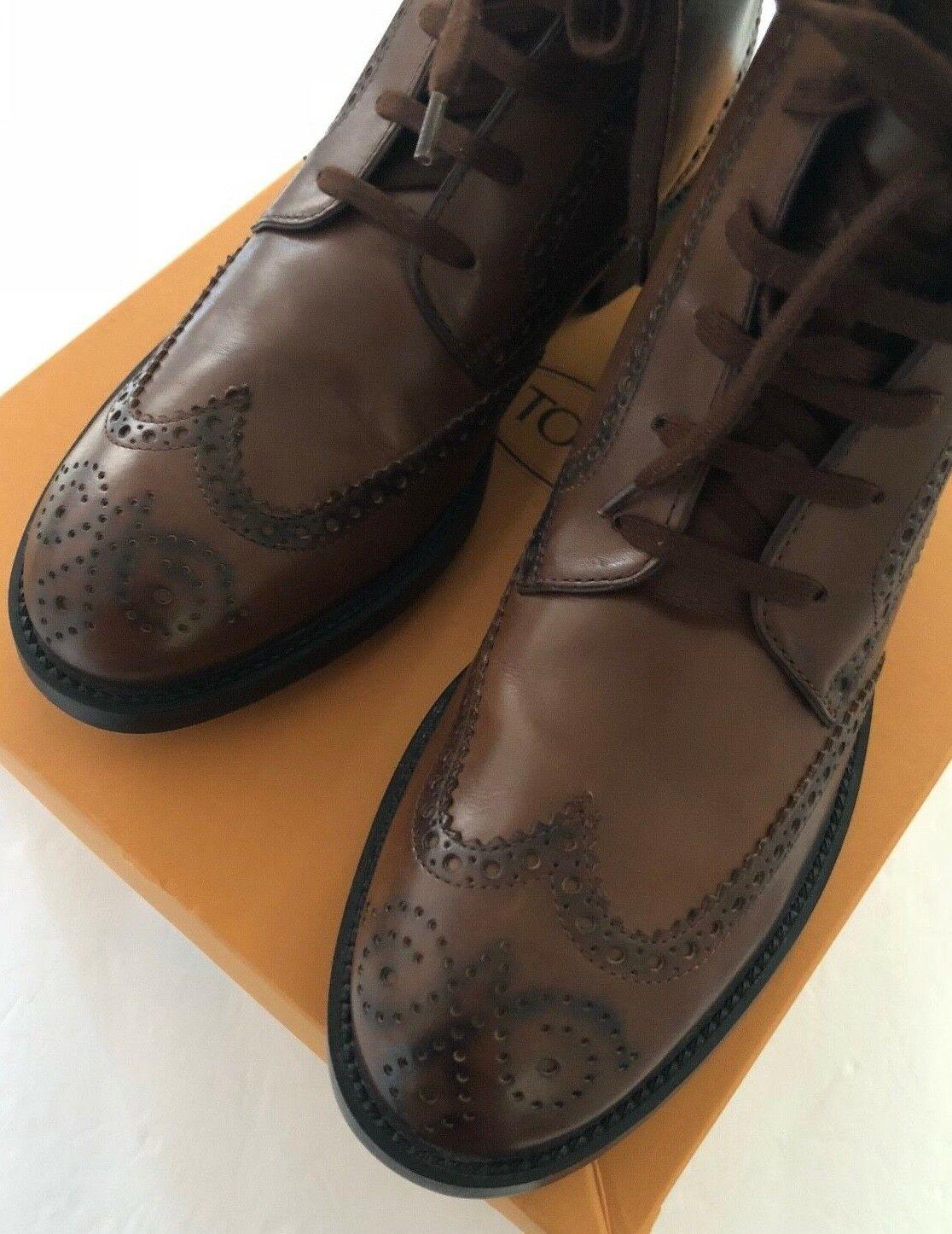 Zapato Bota Tods 7.5 8 Stiv. todos Bucature Esquire Giovane Cacao Marrón Brogue Italia