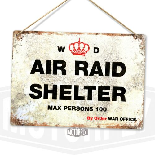 Worn WW2 Bomb Safety Blitz Bunker Nuke Metal Wall Sign Air Raid Shelter