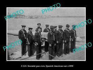 OLD-POSTCARD-SIZE-PHOTO-OF-SPANISH-AMERICAN-WAR-c1898-USS-YOSEMITE-GUN-CREW