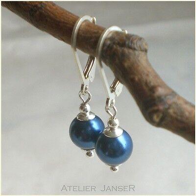 Petrolblaue MUSCHELKERN Ohrringe 925 Silber Brisur blau Ohrhänger 925er r274