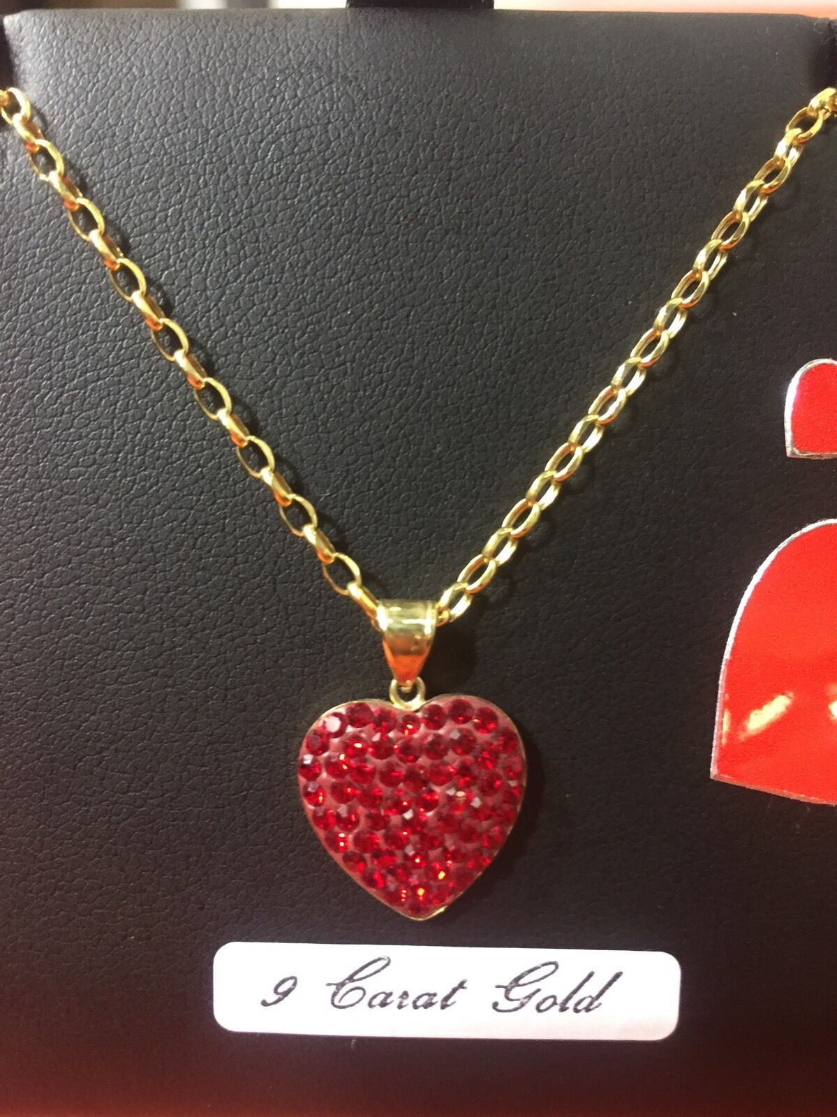 9ct gold heart and chain 9ct gold crystal ladies