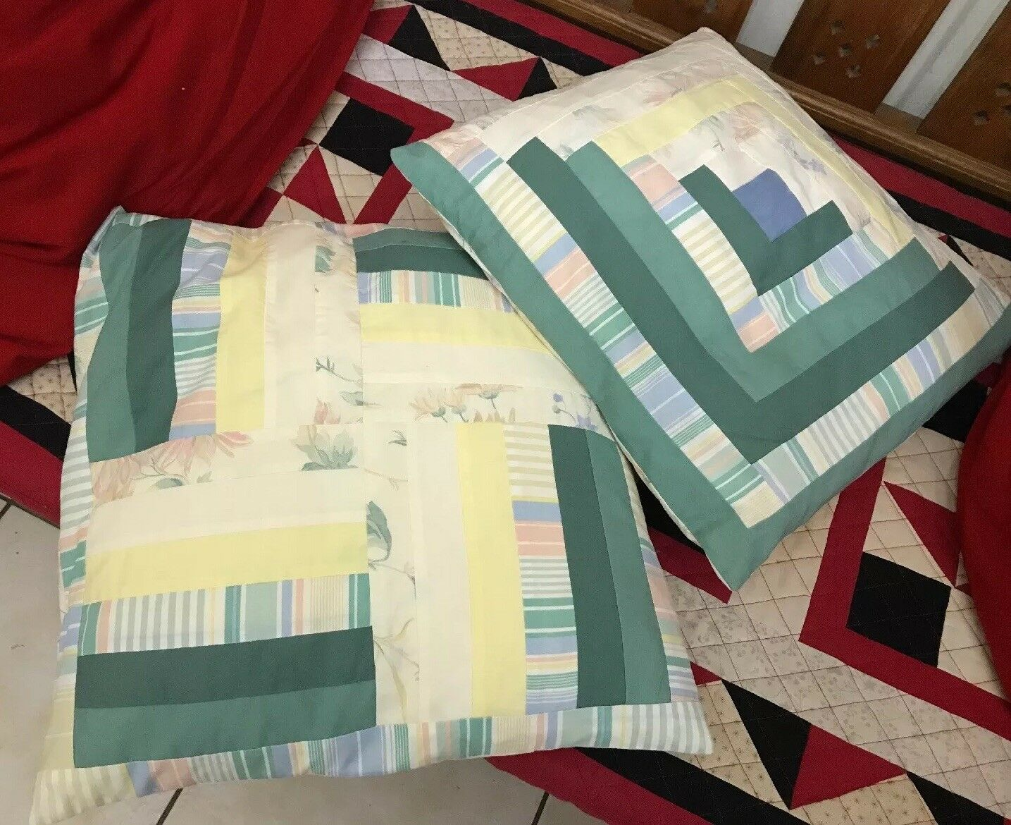 "Vintage Hand Made 2 X 16"" Patchwork Cushion Covers Cushions Floral & Stripes"
