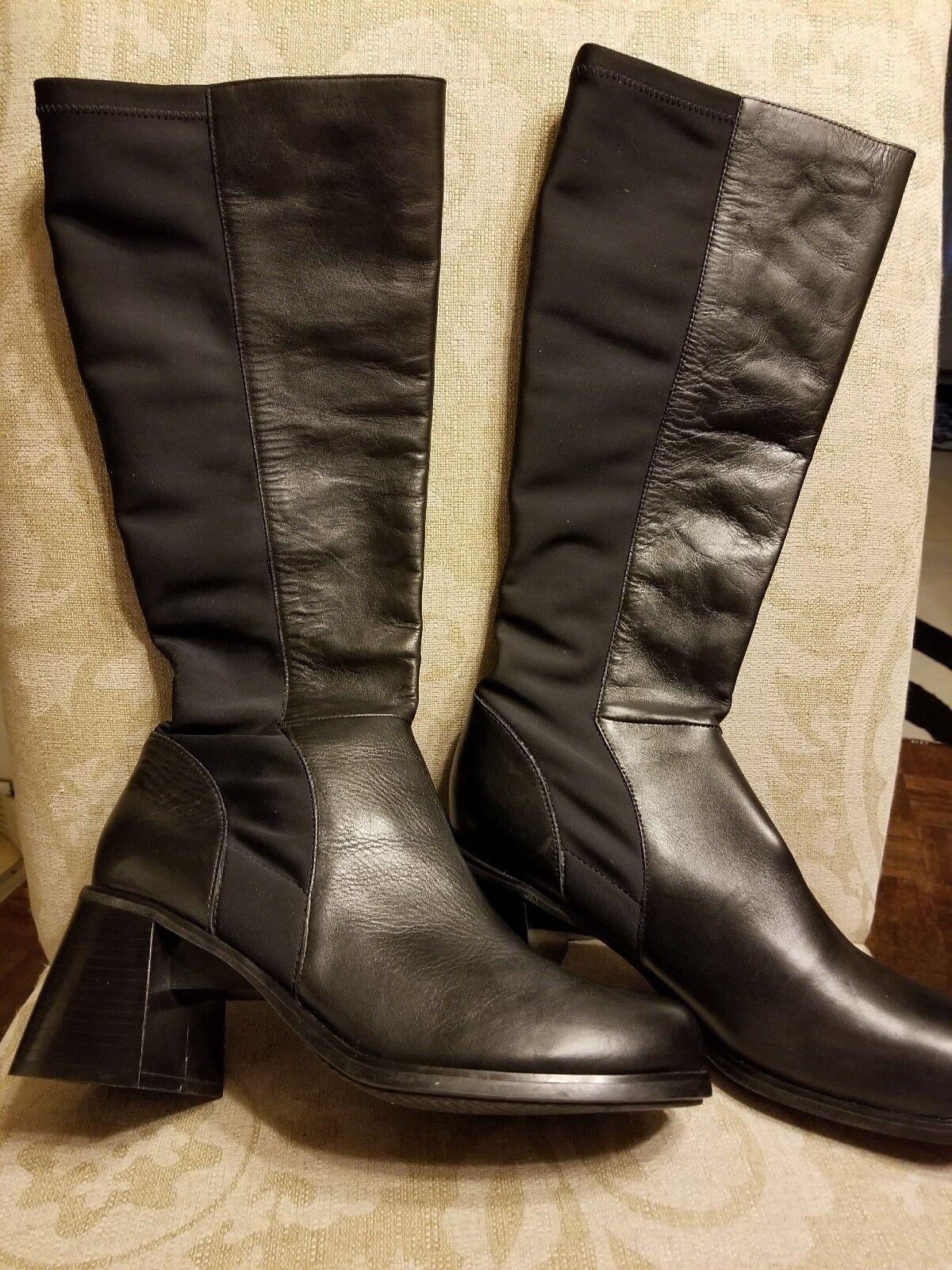botas Mujeres De Cuero Mujeres botas 11m Nuevo Negro Elástico Cuero Me Too b88bcf