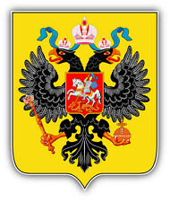 "Coat Of Arms Russian Empire Eagle Car Bumper Sticker Decal 4"" x 5"""